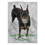 Doberman Santa Makes Best Snow Cones Hoiday Card