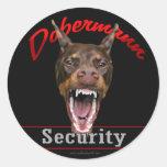 Doberman Security Classic Round Sticker