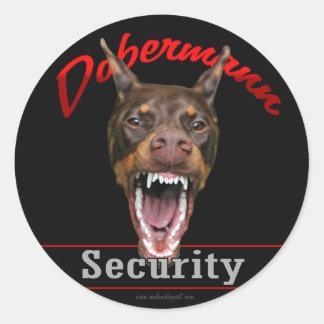 Doberman Security Round Sticker