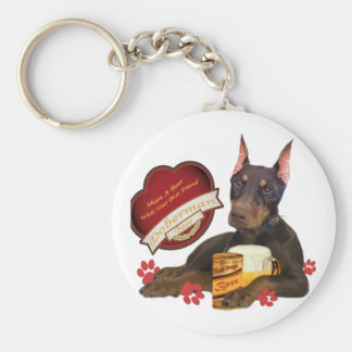 Doberman Share A Beer With Your Best Friend Basic Round Button Keychain