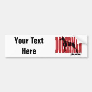 Doberman Silhouette, stacked Car Bumper Sticker