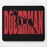Doberman Silhouette, stacked Mousepad