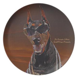 Doberman Sunset Art Plate