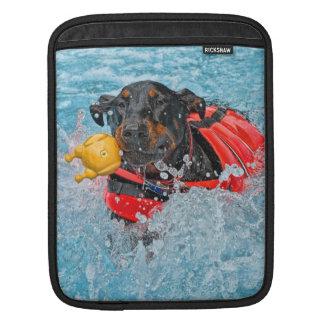 Doberman Swimming iPad Sleeve