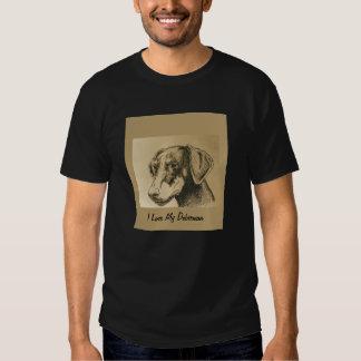 Doberman Tee Shirt on Black