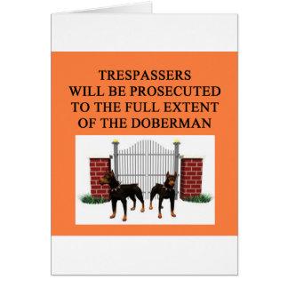 doberman trespasser greeting card