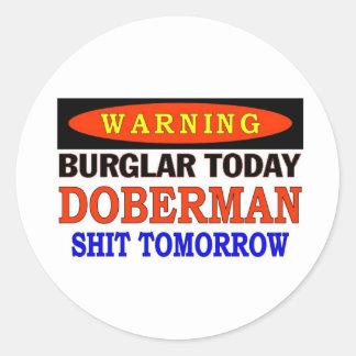 DOBERMAN WARNING CLASSIC ROUND STICKER