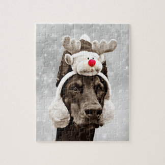Doberman Winter Portrait Jigsaw Puzzle
