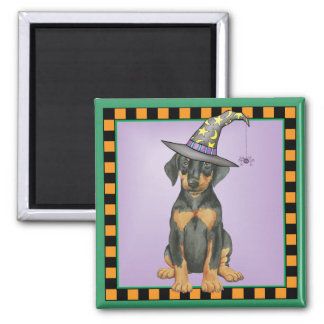 Doberman Witch 2 Inch Square Magnet