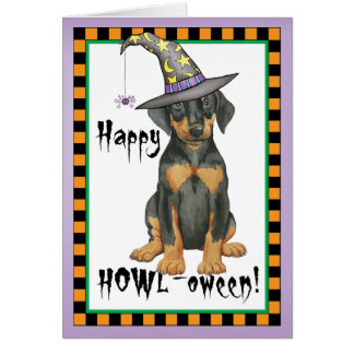 Doberman Witch Card