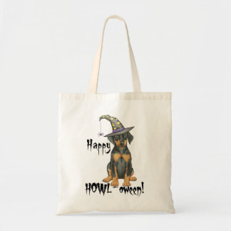Doberman Witch Tote Bag