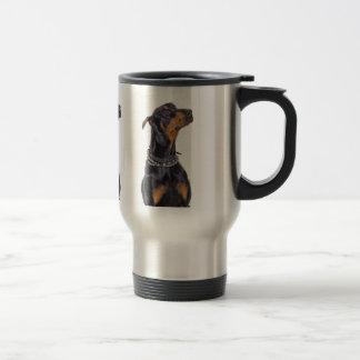 Doberman With Sneaky Look Travel Mug