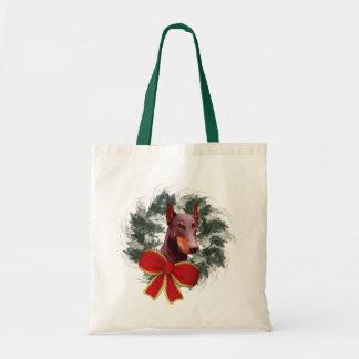 Doberman Wreath Christmas Holiday Tote Bag