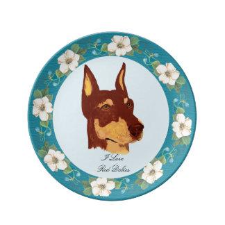 """Doberman y turquesa rojos 8,5"""" floral placa de platos de cerámica"""