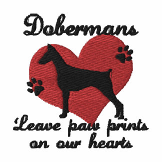 Dobermans Leave Paw Prints Embroidered Hooded Sweatshirt