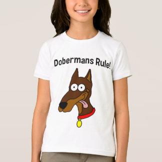 """""""Dobermans Rule!"""" Red Doberman Girls Ringer T T-Shirt"""
