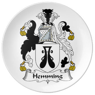 Dobladillar el escudo de la familia plato de cerámica