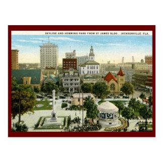 Dobladillar el parque, Jacksonville, vintage de FL Postales