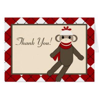 Doblado gracias cardar el mono rojo Argyle del cal Tarjeton