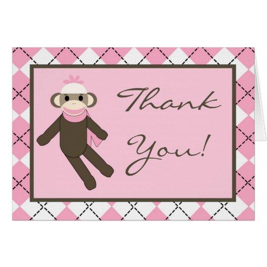 Doblado gracias cardar el mono rosado del calcetín tarjeta pequeña