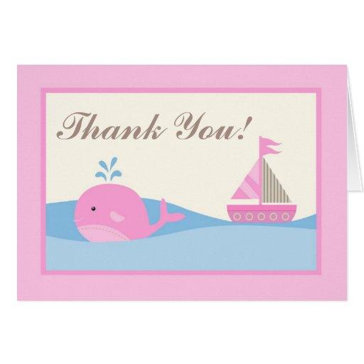 Doblado gracias cardar la ballena rosada del barco tarjeta pequeña