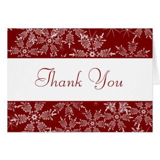 Doblado gracias cardar los copos de nieve del rojo felicitaciones