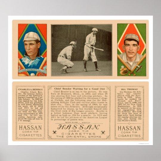 Doblador en el béisbol 1912 del atletismo del palo póster
