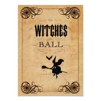 """Doble del cumpleaños de la bola de las brujas del invitación 5"""" x 7"""""""