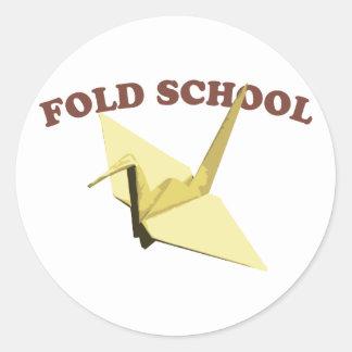 Doble la escuela (Origami) Pegatina Redonda