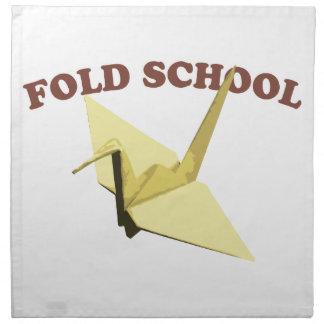 Doble la escuela Origami Servilleta Imprimida
