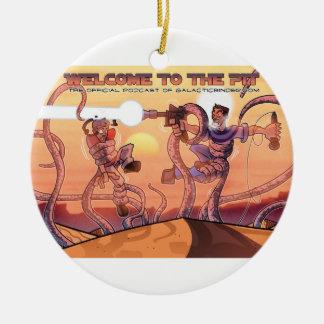 Doble-side del ornamento del navidad del podcast adorno navideño redondo de cerámica