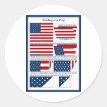 Dobleces de la bandera etiquetas redondas