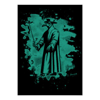 Doc beak - Plague doctor - bleached green Poster