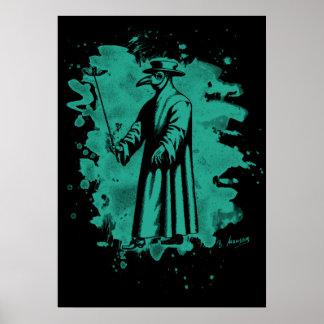 Doc beak - Plague doctor - bleached green Poster