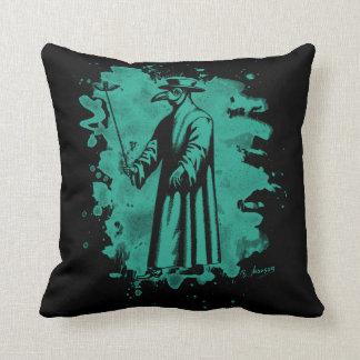 Doc beak - Plague doctor - bleached green Throw Pillow