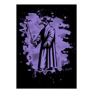 Doc beak - Plague doctor - bleached violet Poster