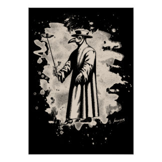 Doc beak - Plague doctor - bleached white Poster