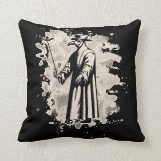 Doc beak - Plague doctor - bleached white Throw Pillow