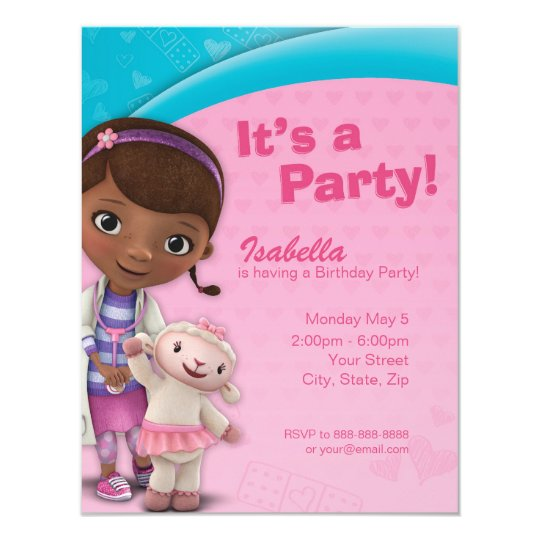 Doc McStuffins Birthday Invitation Zazzlecom