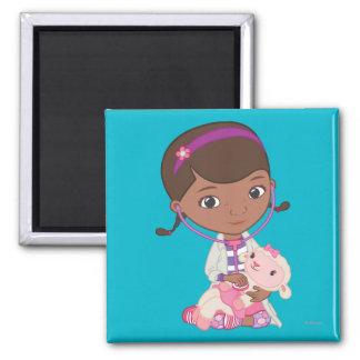 Doc McStuffins Holding Lambie 2 Inch Square Magnet