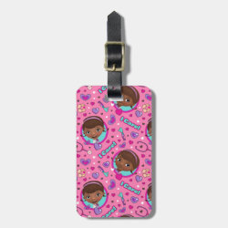 Small Luggage Tag with leather strap with Stylized Marshmallow Silhouette design
