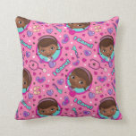 Doc McStuffins | I Care Pink Pattern Throw Pillow