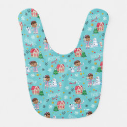 Baby Bib with Disney Christmas Ornaments design