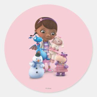 Doc. McStuffins y sus amigos animales Pegatina Redonda