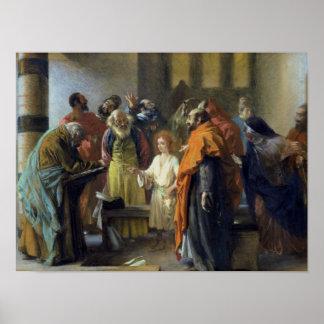 Doce-año viejo Jesús en el templo, 1851 Póster