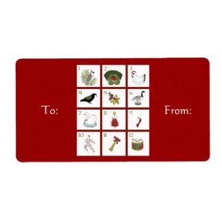 Doce días de etiquetas del regalo del navidad etiquetas de envío