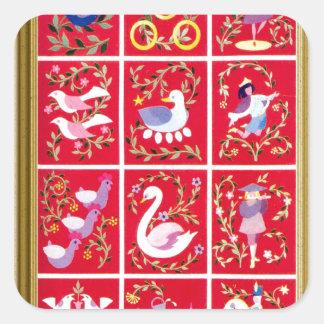 Doce días de navidad, el villancico tradicional pegatina cuadrada
