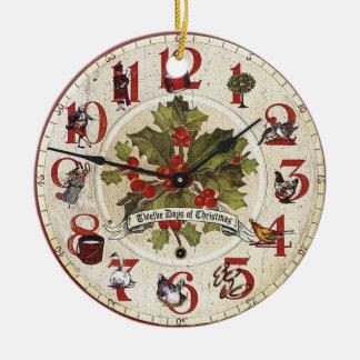 doce días de ornamento del reloj del navidad adorno navideño redondo de cerámica