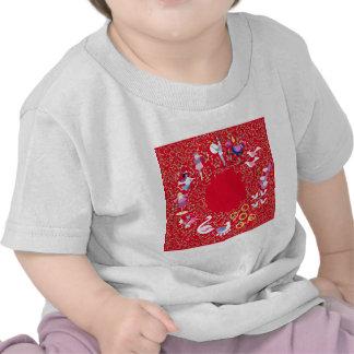 Doce días de ropa del navidad camiseta