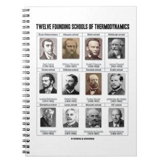 Doce escuelas de fundación de termodinámica libreta espiral
